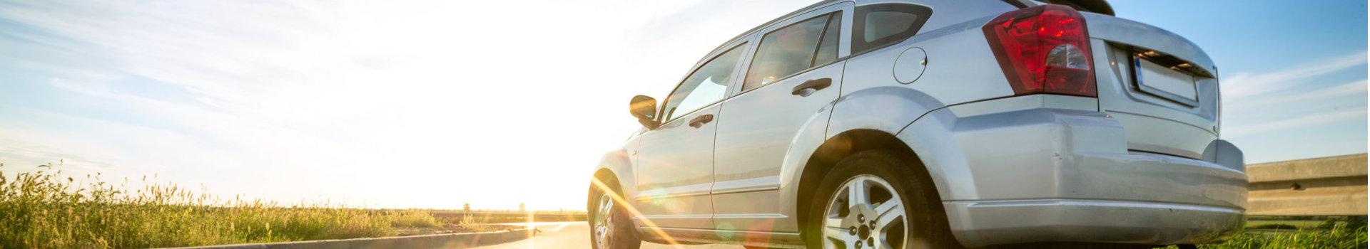 car facing the sun